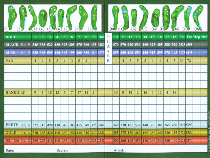 Golf Course Scorecard - Easton, PA - Riverview Country Club
